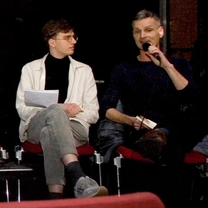 Moderator Jonas Eickhoff (IfS & IfE) und Bernd Friedmann (Nonplace)