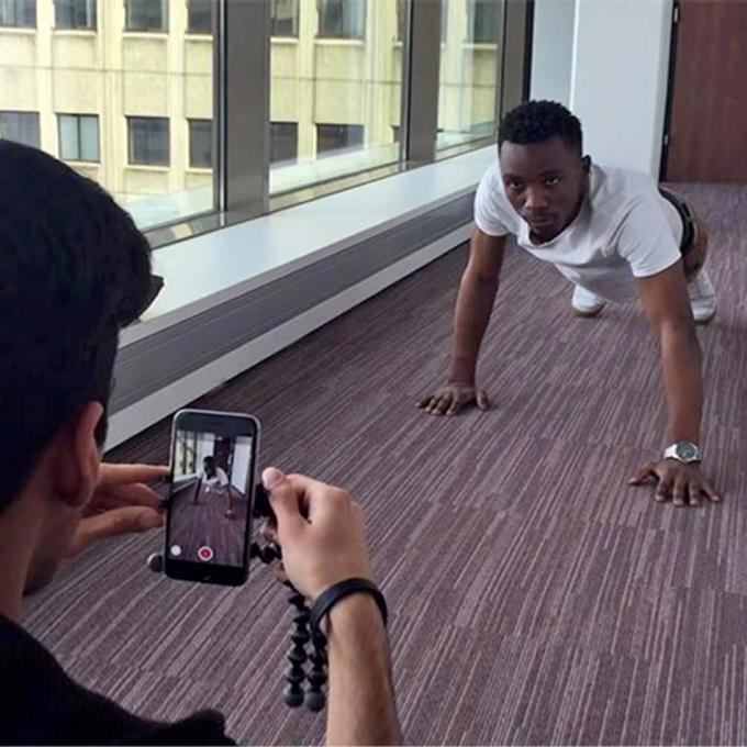 Shooting a fitness vlog