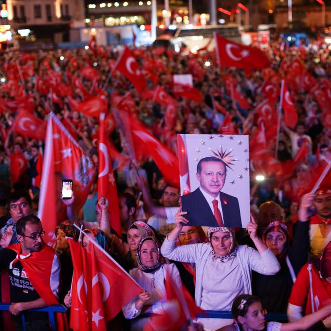 After coup nightly demonstartion of president Erdogan supporters. Istanbul, Turkey 22 July 2016