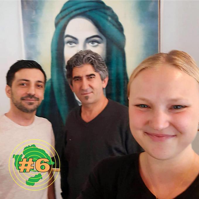 Gülcan Taş und Abdullah Karakaş, Vorstandsmitglieder der alevitischen Gemeinde Essen mit Olga Felker. Foto: Olga Felker