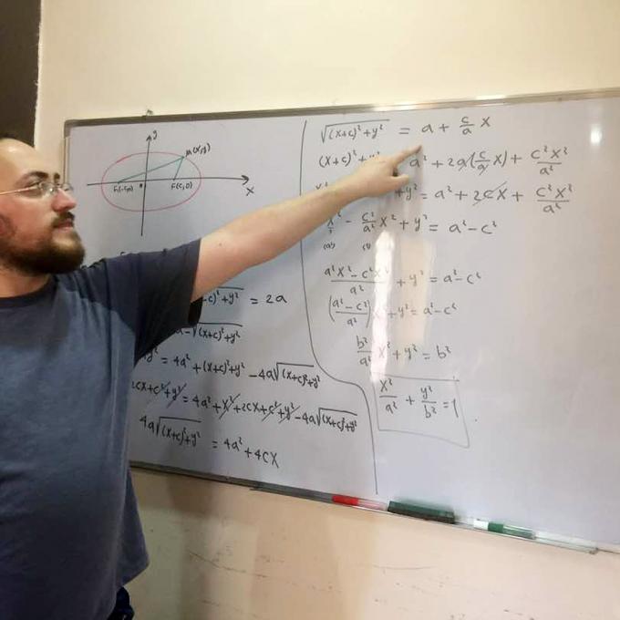 Raed teaching analytical geometry in summer 2017