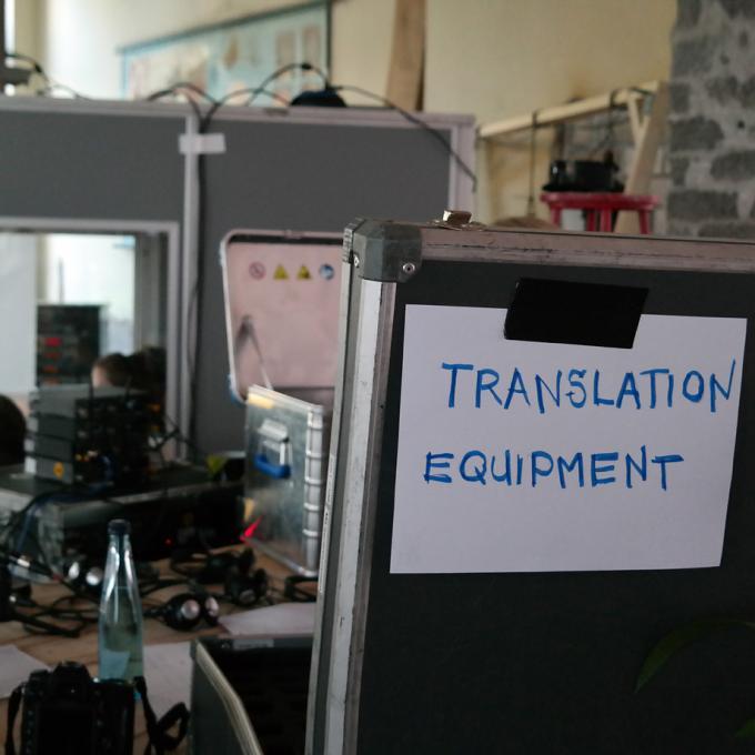 Simultanübersetzung einer Podiumsdikussion beit Kitev, Oberhausen 2016