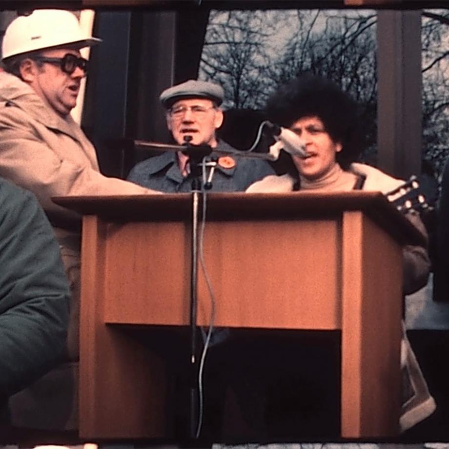 """""""35-Stunden-Woche ist das Ziel, Teil II"""", Film von R. Schenkmann-Raguse. Foto: Archiv für Familien- und Amateurfilm des Ruhrgebiets / Interkultur Ruhr"""