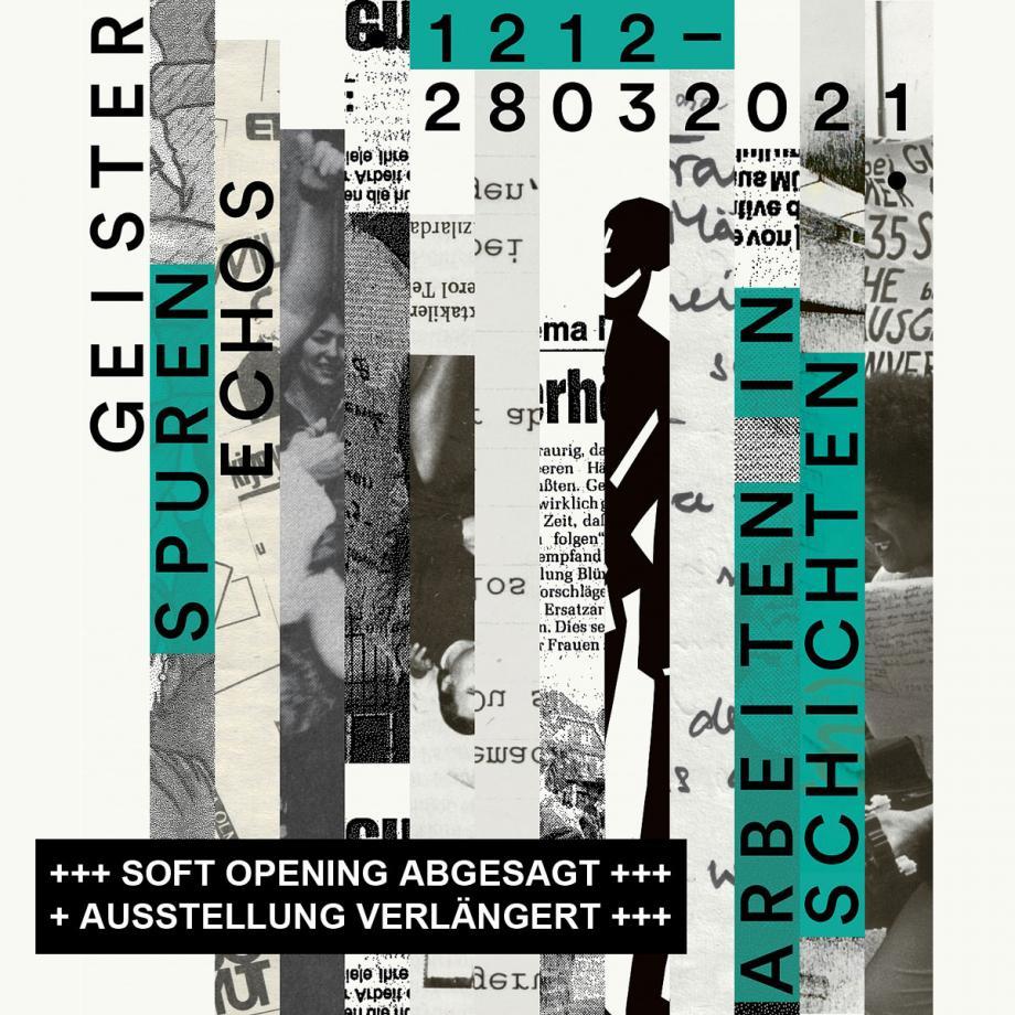Geister, Spuren, Echos: Arbeiten in Schichten. Ausstellungsplakat Akademie der Künste der Welt, Köln
